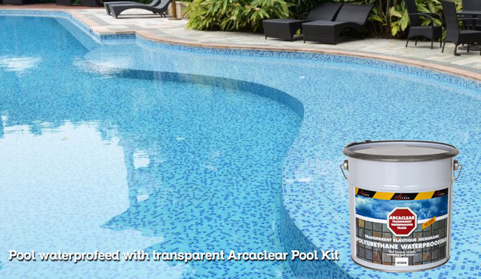 Transparent Waterproof Resin For Tiled Pools Ponds Fountains Basins Arcaclear Pool Kit