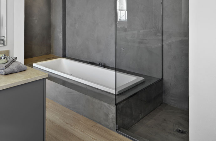 micro topping cement for bathrooms and showers decorative microscreed waxed concrete. Black Bedroom Furniture Sets. Home Design Ideas
