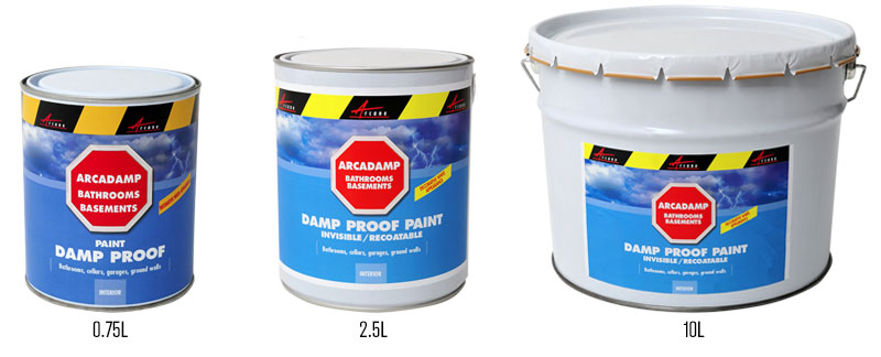 Arcadamp damp paint proof available in different pack sizes