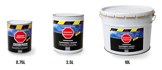 waterproof paint for your sloped terrace exist in different pack sizes