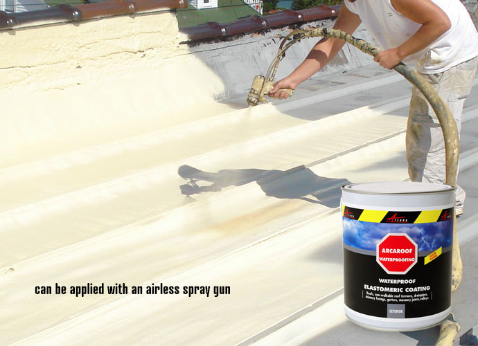 Arcaroof waterproofing paint applied with airless spray gun