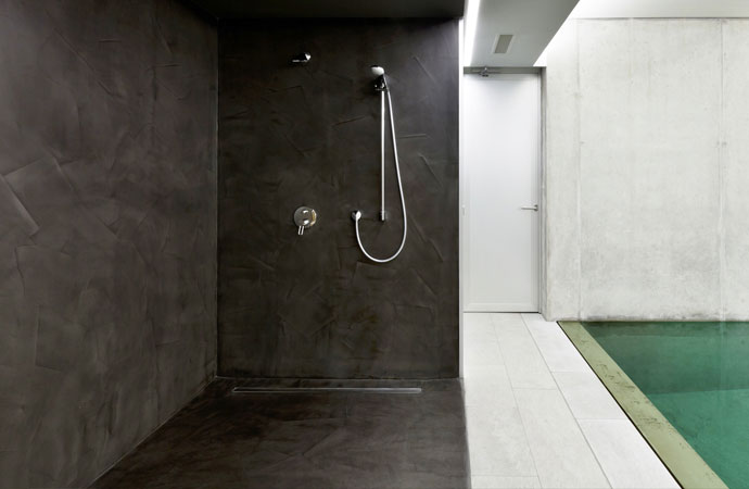 Waxed Concrete Shower Beton Cire With Arcascreed